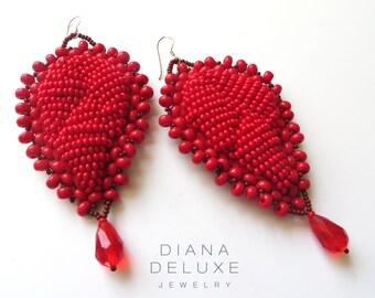Large african earrings / Red Ankara Chunky Earrings / Oversized red earrings / Ethnic jewelry tribal earrings / Statement Earrings Beaded
