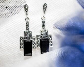 Art deco black onyx earrings - 1920's design / black onyx earrings  / onyx and silver earrings / marcasite earrings