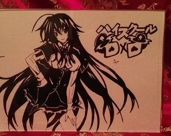Rias Gremory from High School DxD A4 Black and White Print