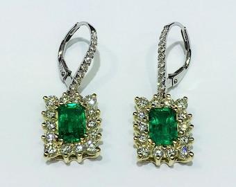 Green Columbia Emerald and Diamond Dangling Earrings