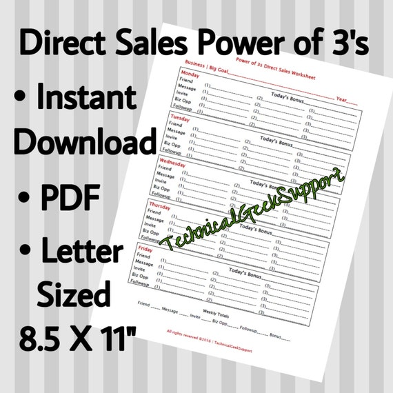Direct Sales Worksheet The Power Of 3's Network
