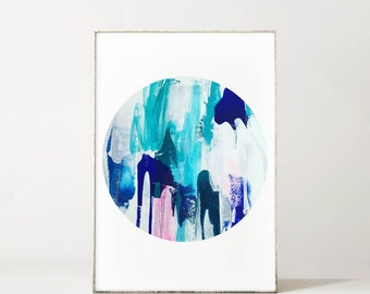 Abstract Art Print, I Heart You Turquoise Blue Round Art Print, Giclee Print