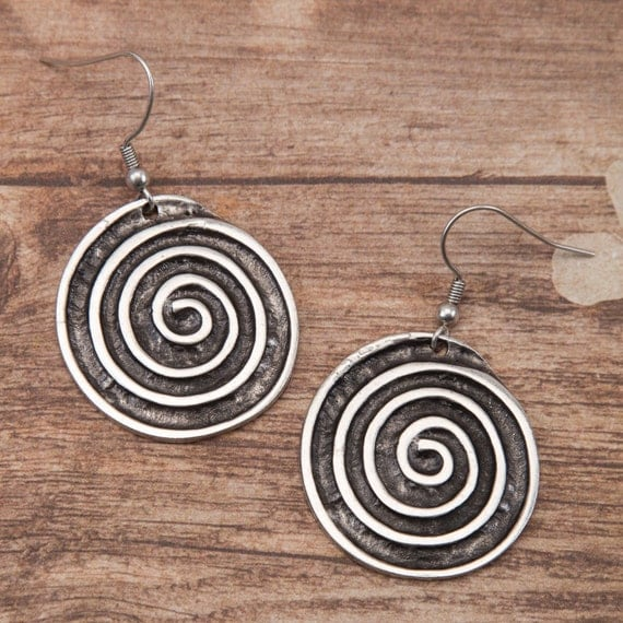 Spiral Earrings Silver Pewter Dangles