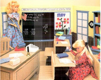 Country Schoolhouse, Fashion Doll school teacher playset plastic canvas pattern, fits Barbie, design by Judy Blok, Annie's Attic book 878307