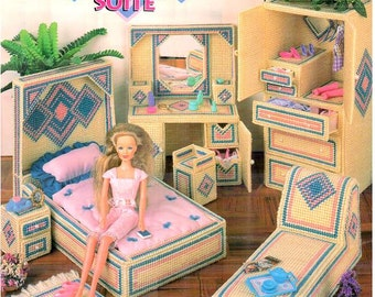 Plastic Canvas Fashion Doll Contemporary Diamonds Water Bed Suite furniture pattern fits Barbie, designer Nanette Seale Annie's Attic 879006