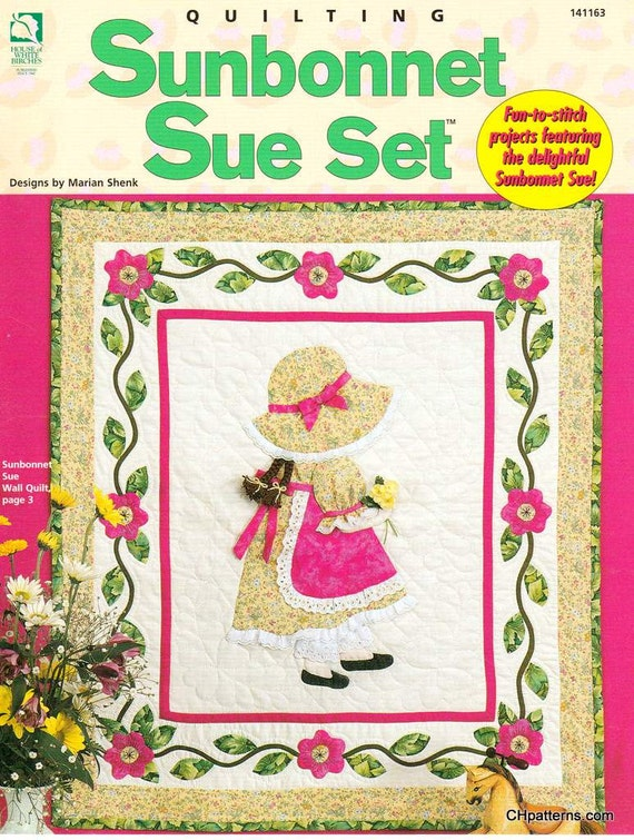 Quilted Paperback Book Cover Pattern : Sunbonnet sue set quilt pattern book applique girl wall