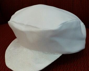 White Jacquard Newsboy Cabby Christening Baptism Cap Hat