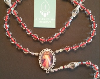 HANDCRAFTED DIVINE MERCY & St. FAUSTiNA ChAPLET RoSARY-Double-Sided Custom Unique Rosary Center-Czech Glass Beads-PaRDON CrUCIFIX