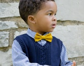 Mustard Bow Ties for Boys - Gold Bow Tie - Baby Bow Tie - Yellow Tie for Wedding - Designer Bow Ties for Kids - Pre-Tied Bow Tie