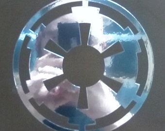 2 x Metallic Silver Galactic Empire Car Sticker
