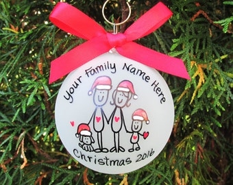 Family Christmas ornament, personalized christmas gift, custom family ornament, family tree ornament, christmas gift