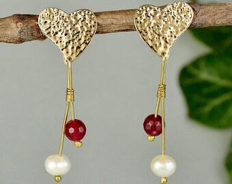 Heart long earrings, hammered stud, white pearl earrings, garnet jade jewelry, Valentine earrings, wife gift idea, love stud, beaded hearts.