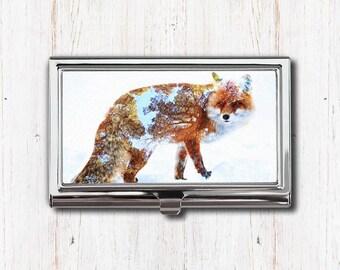 Fox Art Business Card Case, Business Card Holder, Card Case, Card Holder, Fox, Fox Art, Fox Print, Fox Art Print, Animal Art, Woodland