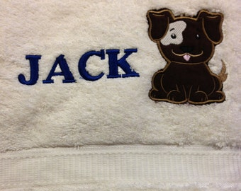 JACK PUPPY DOG plush cream towel