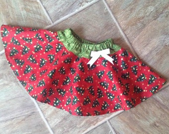 SALE, Baby Girl Christmas Skirt, Girls Christmas Skirt, Toddler Girl Christmas, Toddler Christmas Outfit, Handmade, ONE Size 2T