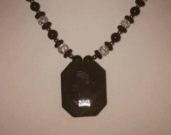 Black & White Lace Jewelry Set - Black Lace Necklace - Black Lace Jewelry - Lace Pendant - Women's Jewelry Set - Women's Lace Jewelry Set