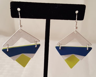 Lime Green Earrings - Blue Earrings - Silver Earrings - Dimensional Earrings - Metal Earrings - Women's Earrings - Triangle Earrings