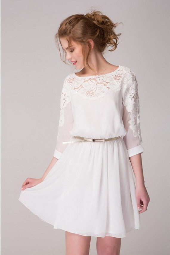 Cute white chiffon dress with lace flowers by stylishshopdress for Cute short white wedding dresses