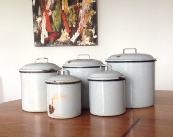 Vintage enamel grey kitchen canister set - tin canisters - shabby chic kitchenware