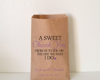 Wedding Favor Bag, A Sweet Thank You Candy Buffet Bag, Favor Bag, Personalized Wedding Favor Bag, Treat Bags, Custom Favor Bags, WNW006