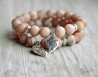 Best friend gift Friendship bracelet Gift ideas for friend Bracelet set Charm bracelet Beaded bracelet Elastic bracelet beaded bracelet