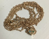 Antique Ladies Victorian Pocket Watch Chain Pendant- Rosy Tone Yellow Gold Filled Seed Pearls and Opal Slide Charm / Fob