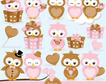 Valentine owls clipart, Valentines day clipart, Valentine clipart, Love owl, Owl clipart, Love birds clipart - CA340