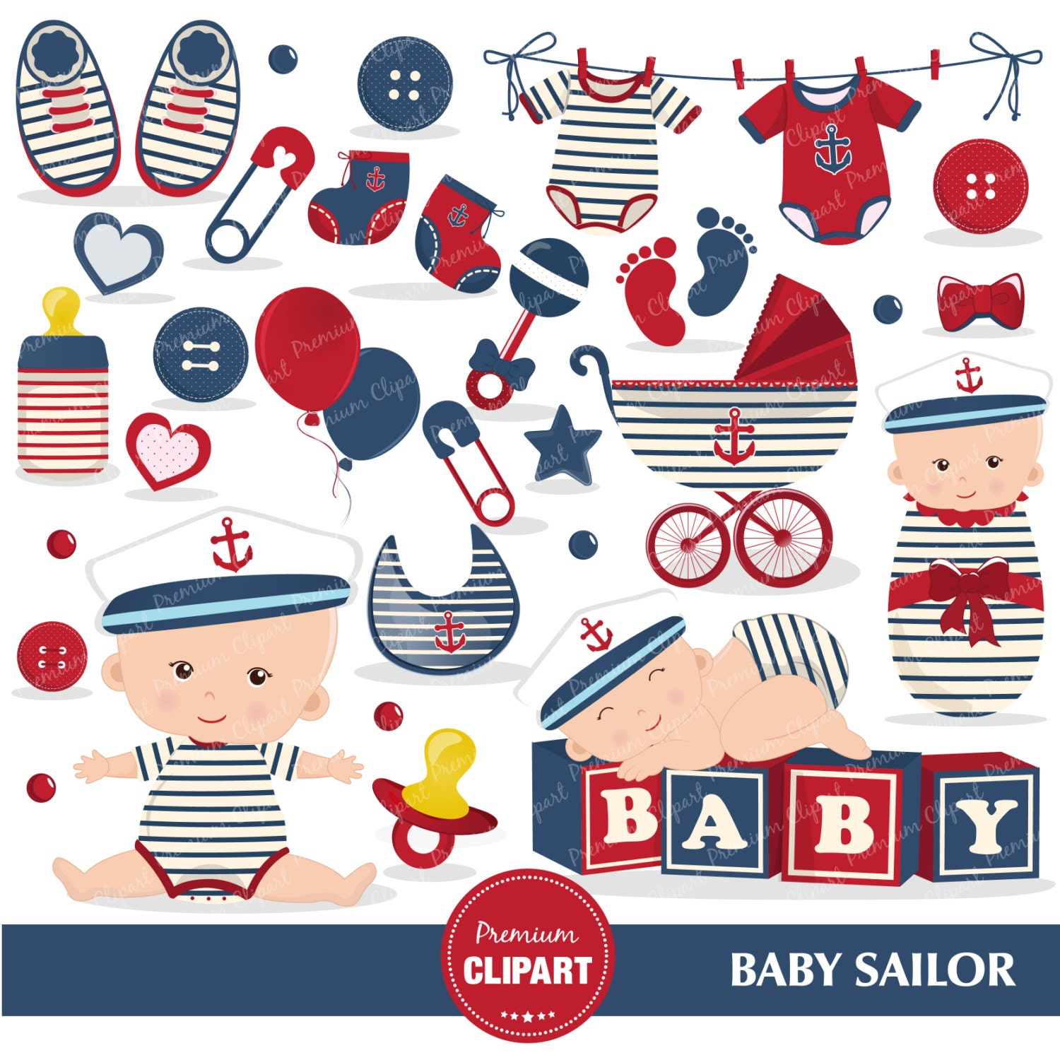 Nautical baby shower clipart Baby sailor Sailing clipart
