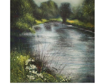 The River Nene, Titchmarsh. Signed Print