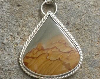 Rocky Butte Picture Jasper Pendant in Silver