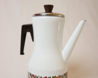 enamel coffee pot, enameled teapot, vintage tea, red tea, white and orange coffee flower