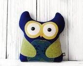 Owl Stuffed Animal Pillow - Blue Green Native Print Children's Plushie with Hidden Zipper Pouch