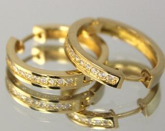 Hoop earrings gold, Yellow gold hoop, Stone hoop earrings, Hoop earring findings, Women hoop earrings, Gold hoop women, 14k gold hoop