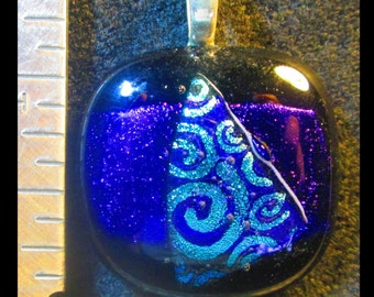 Purple/Blue Fused Dichroic Glass Pendant