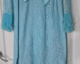 Vintage  Blue Empire  Waist Formal Maxi Dress Lace Ruffles  Metal  Zipper