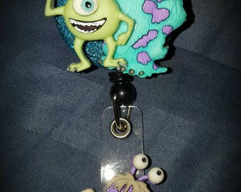 Disney Inspired - Glitter and Sparkle - Monsters Inc Retractable Badge Holder / Badge Reel - Mike W, Sully and Boo
