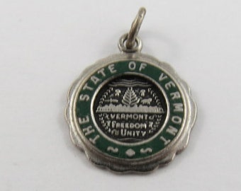 Enameled State of Vermont Sterling Silver Charm or Pendant.