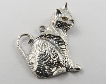 A Cat Sitting Sterling Silver Charm or Pendant.