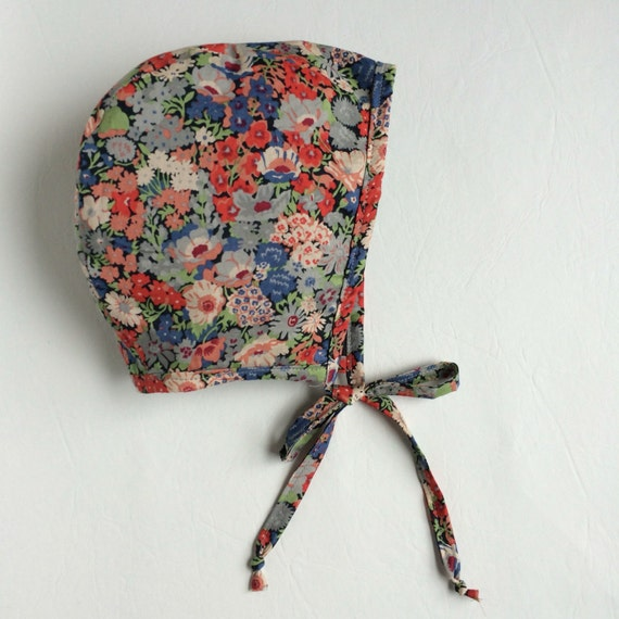 Primary floral Liberty of London baby bonnet