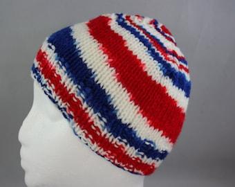 hats; RWB hats; toddler hats; hand knit hats; knit hats; stretchy hats; USA hats;