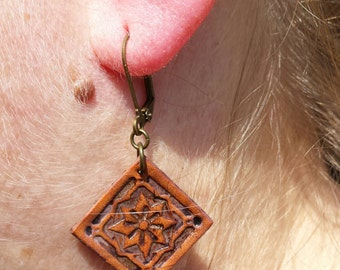 Leather earrings; leather jewelry