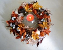 Сhristmas Candle Wreath, holiday centerpiece, BLACK FRIDAY,Candle Ring, Christmas Candle Ring, Xmas
