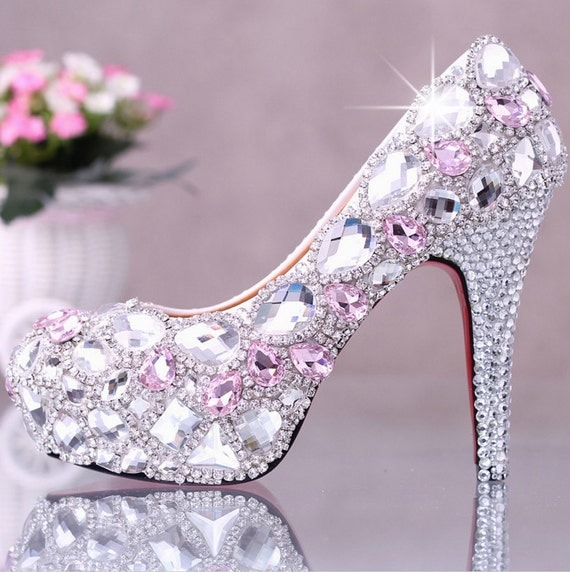 PROMO High or Low Sexy Crystal Wedding Pumps Bridal Cocktail Shoe Rhinestone Strass