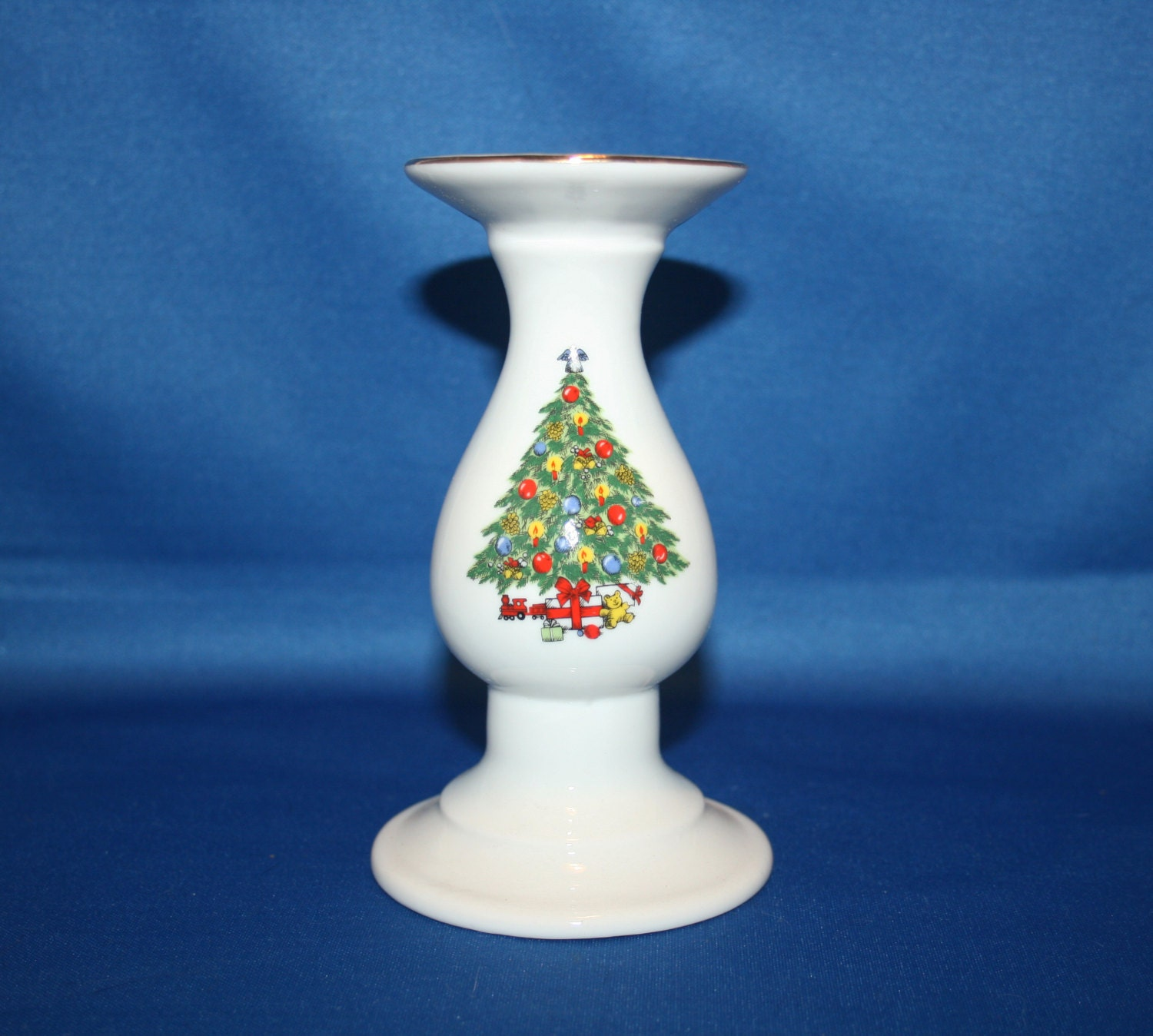 Vintage christmas treasure jamestown china porcelain for Kitchen cabinets lowes with candle holder tree