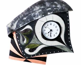 Wall clock Ceramic Raku and patinated copper #11