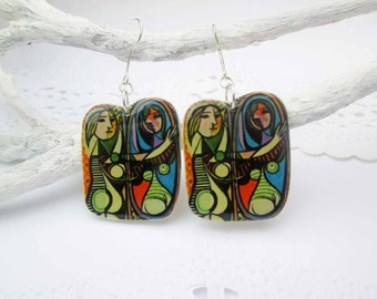 Girl Before A Mirror By Pablo Picasso free shiping image earrings