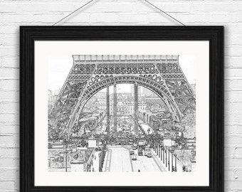 Paris Printable, Eiffel Tower Sketch, Paris Instant Download, Black and White Office Art, Paris Cityscape, Art Gifts for Her, Modern Wallart