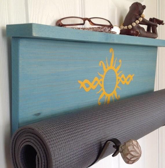Blue Yoga Handmade Blue Yoga Mat Holder Wall Mounted By