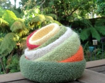 Set of 7 Autumn Nesting Bowls / Felted Wool Bowls / Nesting Bowls / Jewellery Organiser / Desktop Organiser