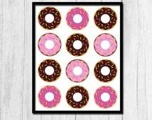Kitchen Printable Donut Printable Kitchen Decor Breakfast Food 8x10 Print Breakfast Print Digital Download Cute Kitchen Decor Digital Art